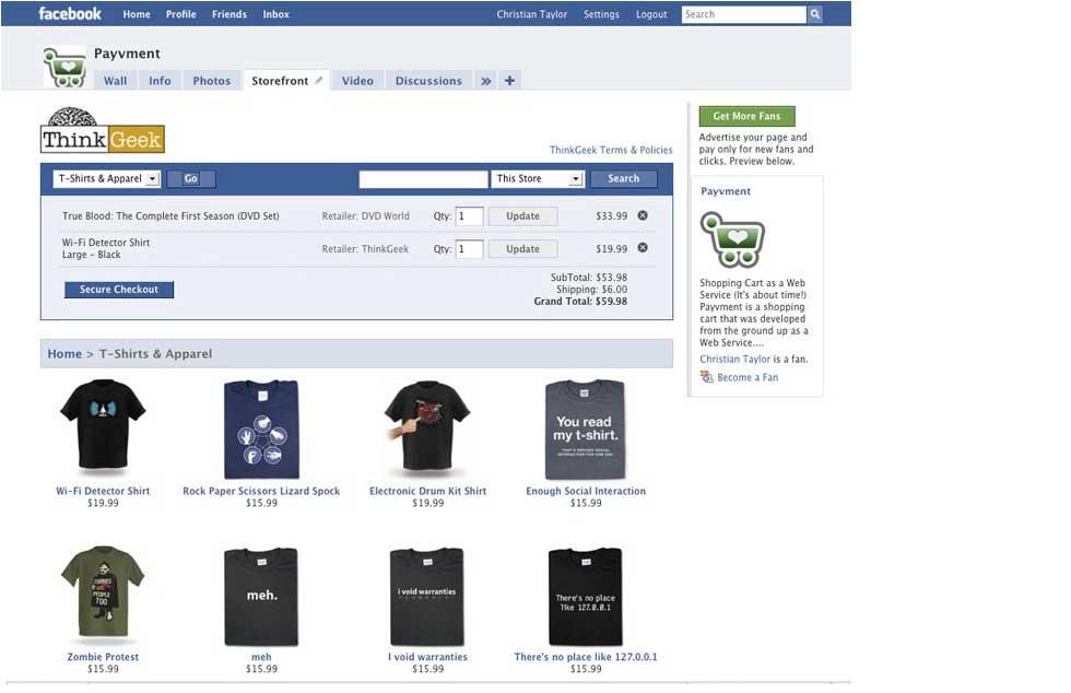 Facebook Payvment Social Commerce